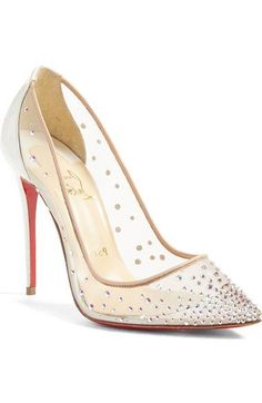 Christian Louboutin  Follies Strass  Pointy Toe Pump available at   Nordstrom Christian Louboutin Heels d8bbb1a8de5e