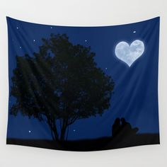 Under the moon of love Wall Tapestry SALES: 3 couple, love, silhouette, romance, romantic, tree, stars, fullmoon, heart, sky, night A red version of this pic is here: http://society6.com/PirminNohr/Red-moon-of-love