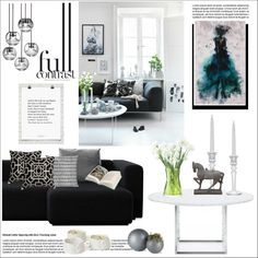 Black into white by helenevlacho on Polyvore featuring interior, interiors, interior design, casa, home decor, interior decorating, HAY, Fritz Hansen, Tom Dixon and LSA International