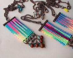 Bright micro macrame necklace, pendant - Rainbow Watercolor Bohemian Fringe 1 pc