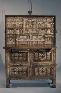 17th century Spanish Drop-front desk (shown open) at the Metropolitan Museum of Art, New York
