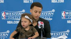 Steph Curry may be an NBA star, but it's his daughter Riley who recently stole the spotlight during a post-game presser.