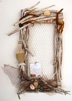 Driftwood frame with chicken wire; add regular photo frames inside.