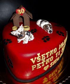 torta, cake srdce so psíkmi
