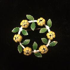 Vintage Yellow Tulips Enamel Wreath Pin