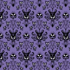 Large Haunted Mansion Damask in Purple - love the border pattern!