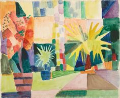 August Macke: Garden on Lake Thun (Pomegranate Tree and Palm in the Garden), 1914