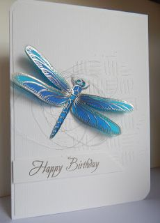handmade birthday card from Craft-E-Place: Dragonfly . heat embossed on vellum and colored . subtle texture on card using white on white and small dimension stencil . Dragon Fly Craft, Bee Cards, Butterfly Cards, Monarch Butterfly, Flower Cards, Stamping Up Cards, Handmade Birthday Cards, Cool Cards, Easy Cards
