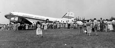 A great shot from the dedication of the Charlottesville, Virginia Airport on July 10, 1955.  Hundreds gathered to tour a Piedmont DC-3 in anticipation of the first passenger airline to serve the Charlottesville area.  Piedmont inaugurated service to Charlottesville one month later on August 17, 1955.   Photo Courtesy of the Piedmont Aviation Historical Society.