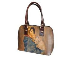 rucne-malovana-kabelka-c100 Madonna, Italian Leather, Leather Handbags, Original Paintings, Hand Painted, Purses, Leather Products, Artwork, Pattern