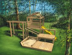 Cet été, vos enfants voudront passer la journée dans le jardin grâce à ce jeu en bois à trois niveaux comprenant une corde avec nœuds, deux balançoires dont une avec pneu, une échelle en corde, un carré de sable et une glissoire.