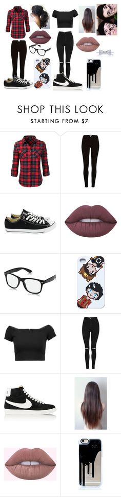 """""""HANGING OUT WITH DAN AND PHIL AND WATCHING SCARY MOVIES"""" by abbyabroome946 on Polyvore featuring Doublju, River Island, Converse, Lime Crime, Alice + Olivia, Topshop and NIKE"""