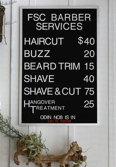 A menu of services is posted at the retro-style FSC barbershop in San Francisco, Calif. on Saturday, Nov. 10, 2012. Photo: Paul Chinn, The Chronicle / SF