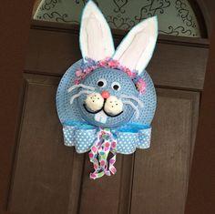 Easter bunny straw hat/bonnet wreath