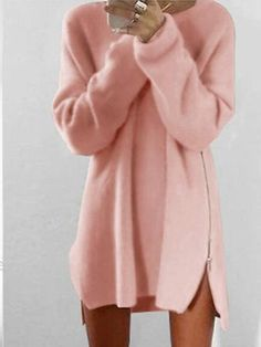 b1b6f4dfded Round Collar Casual Long Sleeve Oversized Sweater