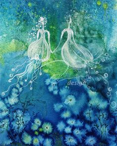 Sisters | oladesign.ca - Original Art and Design, Vancouver Canada, Olga Cuttell  This Olga's favorite of her own work. A pair of sea fairies (jellyfish girls) holding hands underwater.