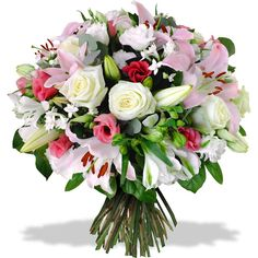 armonia bouquet with roses and lilies colours pink and white - Pink Ladies Grease, Bridesmaid Outfit, White Lilies, Send Flowers, New Years Eve Party, Planting Flowers, Floral Arrangements, Pink White, Floral Wreath