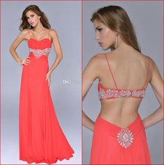 Wholesale Prom Dresses - Buy 2014 Watermelon Prom Dresses Spaghetti Sexy Backless Exotic Crystal Party Dress Chiffon Evening Gowns Nina Canacci New P252, $125.0 | DHgate