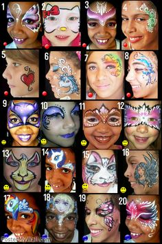 When you think about face painting designs, you probably think about simple kids face painting designs. Many people do not realize that face painting designs go Face Painting Images, Girl Face Painting, Face Painting Designs, Painting For Kids, Body Painting, Halloween Face Paint Designs, Halloween Makeup For Kids, Kids Makeup, Halloween Painting
