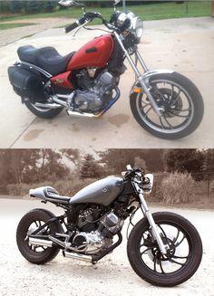 See several of my best builds - unique scrambler ideas like this Vintage Bikes, Vintage Motorcycles, Custom Motorcycles, Custom Bikes, Vintage Cafe, Virago Bobber, Bobber Chopper, Cafe Bike, Cafe Racer Bikes