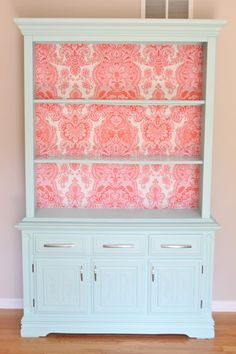 The Fabric Hutch: Furniture Redo. Great idea...different colors and it'd be great for dining room!