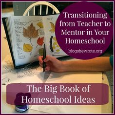 Transitioning from Teacher to Mentor in Your Homeschool- Join us for The Big Book of Homeschool Ideas Book Tour- meet the authors and see the bundle!