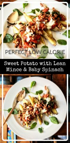 Perfect low calorie lunch -  sweet potato with lean mince and baby spinach