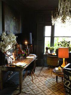 Home office black furniture dark walls ideas for 2019
