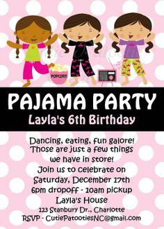 Pajama Party Birthday Invitations