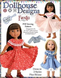 American Girl Dolls : Image : Description Dollhouse Designs Fiesta Folklorico Dress & Blouse Doll Clothes Pattern for Inch Dolls Such as WellieWishers - PDF via Pixie Faire Etsy Shop Girl Doll Clothes, Doll Clothes Patterns, Clothing Patterns, Girl Dolls, Ag Dolls, Doll Patterns, Dress Patterns, Fashion Patterns, Kids Clothing