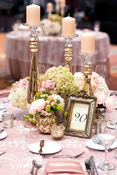 fairytale vintage wedding centerpieces with candles