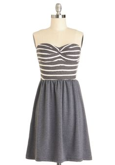 Happy Harbor Dress. Youre smooth sailing in todays ensemble because of this strapless dress! #grey #modcloth