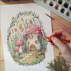 Mushroom Drawing, Mushroom Art, Fairy Drawings, Cute Drawings, Pretty Art, Cute Art, Watercolor Illustration, Watercolor Art, Garden Drawing