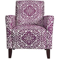 This beautiful jewel-tone angelo HOME Sutton accent chair was designed by Angelo Surmelis. The Sutton chair has slightly flared arms and is covered in a purple and white classic damask. $258.99