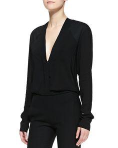 Long-Sleeve V-Neck Blouse, Black