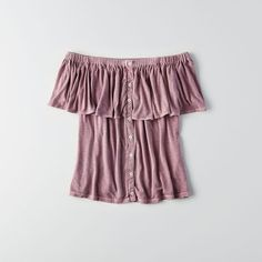 AE Button Off-the-Shoulder Top ($18) ❤ liked on Polyvore featuring tops, blouses, purple, ruffle blouse, sexy tops, off the shoulder tops, button front top and purple blouse