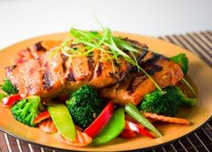 Teriyaki Salmon (Grilled) by Ray Grilled Teriyaki Salmon, Baked Salmon, Healthy Breakfast Snacks, Healthy Eating, Fussy Eaters, Nutrition, Good Foods To Eat, Seafood Recipes, Veggies