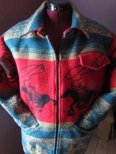 Vintage Western Blanket Coat Jacket Horses wool. $98.00, via Etsy.