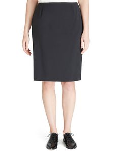 T96SK Lafayette 148 New York Modern Slim Crepe Skirt, Black, Women's
