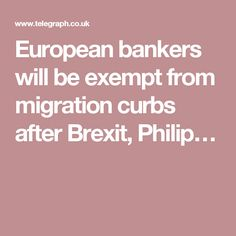 European bankers will be exempt from migration curbs after Brexit, Philip…