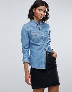 ASOS Denim Fitted Western Shirt in Midwash Blue