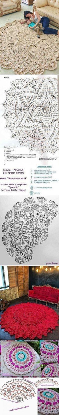 Most up-to-date No Cost Crochet rug doily Strategies Klassenkameraden // Julia Efremova – Stricken und Häkeln Crochet Doily Rug, Crochet Rug Patterns, Crochet Carpet, Crochet Mandala Pattern, Crochet Tablecloth, Crochet Diagram, Crochet Home, Filet Crochet, Crochet Designs