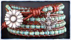 Wrap Bracelet, Seed Bead Bracelet, Leather Bracelet, Leather Wrap, Beaded Wrap…