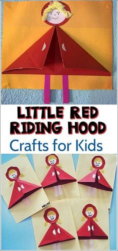 This is our children's book inspired paper Little Red Riding Hood - Kid Craft tutorial! Kids Learning Activities, Summer Activities For Kids, Preschool Activities, Toddler Crafts, Preschool Crafts, Crafts For Kids, Little Red Hen, Little Pigs, Red Crafts