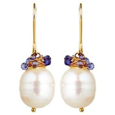 Check out this item at One Kings Lane! Pearl & Sapphire Sophia Earrings