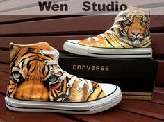 UAE Dubai Tiger Converse Custom Hand Painted by WenWenStudio