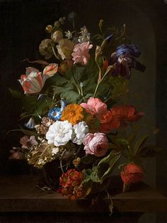 """""""Flowers in a glass vase, with a cricket in a niche"""", Rachel Ruysch."""
