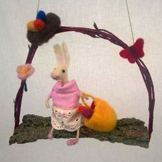 Felt Rabbit mobile Easter decor  wool bunny spring by CozyMilArt, $48.00