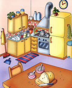 Láminas temáticas de expresión oral: La cocina http://www.imagenesydibujosparaimprimir.com/2011/07/imagenes-habitaciones-casa-para.html