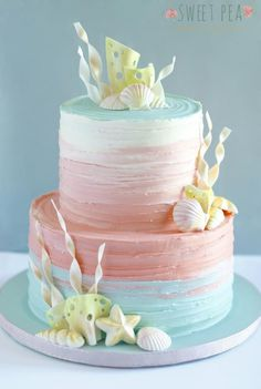 This ombré cake was made for an underwater themed baby shower. It's a beautiful technique to use, especially for cakes that are very light and airy.